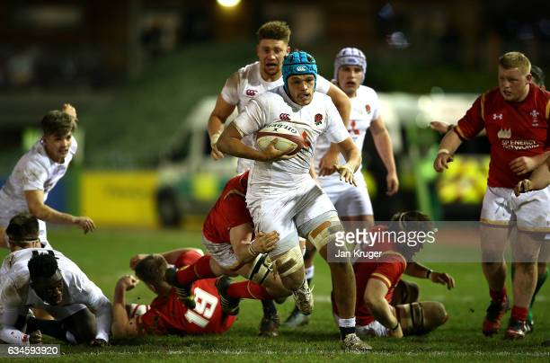 Zach Mercer of England runs with the ball during the U20 Six Nations match between Wales U20 and England U20 at Eirias Stadium on February 10 2017 in...