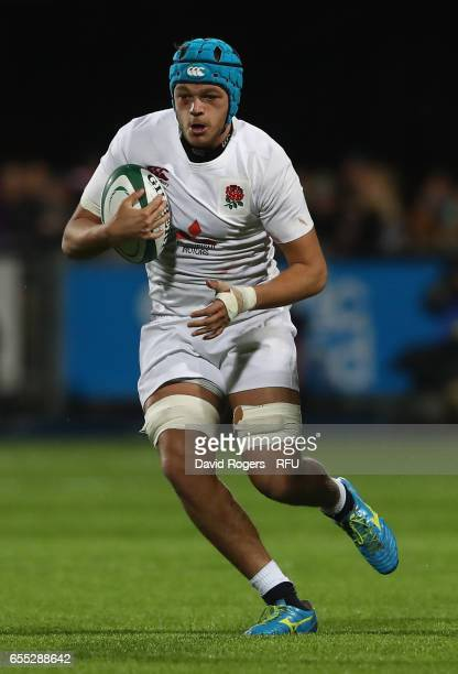 Zach Mercer of England runs with the ball during the under 20 Six Nations Rugby Championship match between Ireland and England at Donnybrook Stadium...