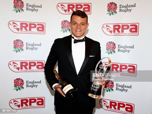 Zach Mercer poses with his RPA Young Player of the Year award during the RPA Players' Awards 2017 at Battersea Evolution on May 10 2017 in London...