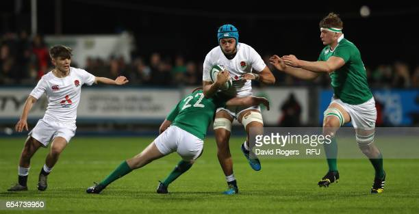 Zach Mercer the England captain is tackled during the under 20 Six Nations Rugby Championship match between Ireland and England at Donnybrook Stadium...