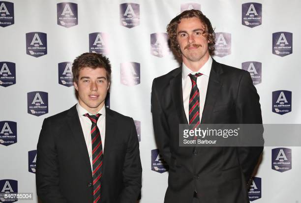 Zach Merrett and Joe Daniher of the Bombers arrive during the AFL All Australian team announcement at the Palais Theatre on August 30 2017 in...
