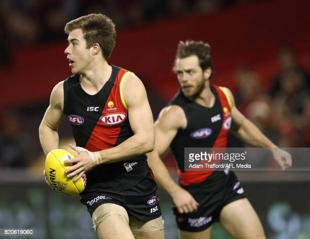 Zach Merrett of the Bombers in action during the 2017 AFL round 18 match between the Essendon Bombers and the North Melbourne Kangaroos at Etihad...