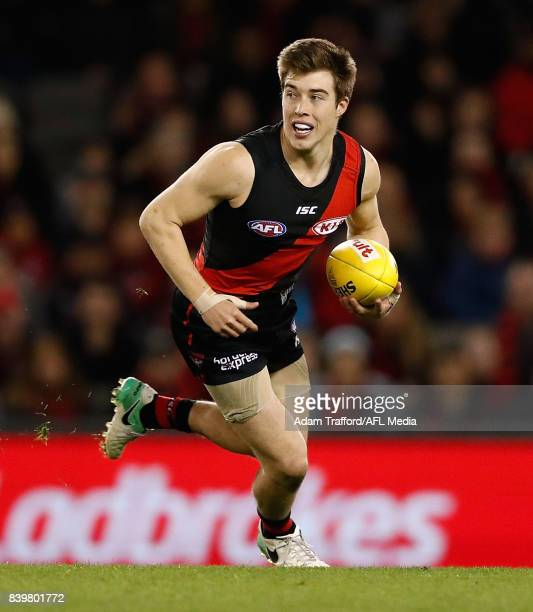 Zach Merrett of the Bombers in action during the 2017 AFL round 23 match between the Essendon Bombers and the Fremantle Dockers at Etihad Stadium on...