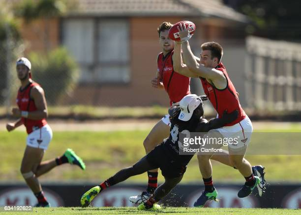 Zach Merrett of the Bombers is challenged by Anthony McDonaldTipungwuti of the Bombers during the Essendon Bombers AFL intraclub match at True Value...
