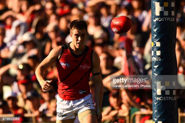 Zach Merrett of the Bombers kicks the ball during the 2017 AFL round 07 match between the Fremantle Dockers and the Essendon Bombers at Domain...