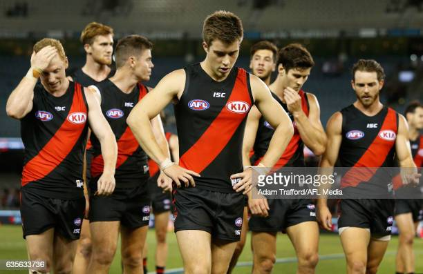 Zach Merrett of the Bombers looks dejected after a loss during the AFL 2017 JLT Community Series match between the Collingwood Magpies and the...