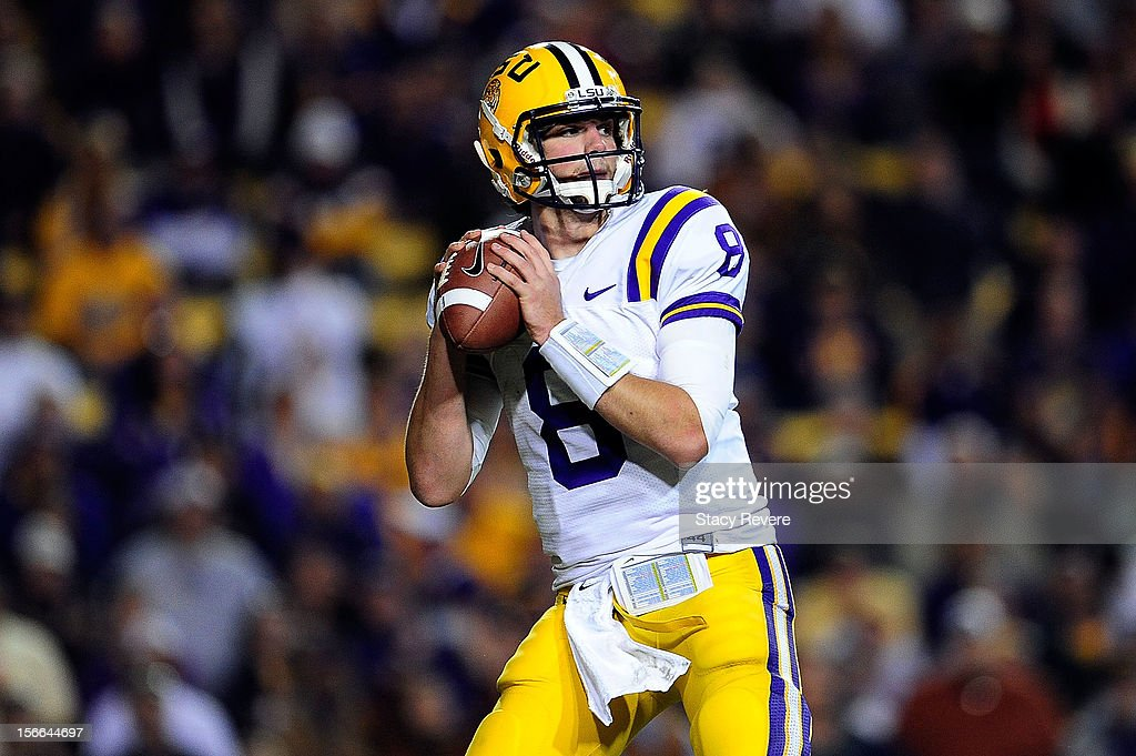 <a gi-track='captionPersonalityLinkClicked' href=/galleries/search?phrase=Zach+Mettenberger&family=editorial&specificpeople=6548476 ng-click='$event.stopPropagation()'>Zach Mettenberger</a> #8 of the LSU Tigers drops back to pass during a game against the Ole Miss Rebels at Tiger Stadium on November 17, 2012 in Baton Rouge, Louisiana.