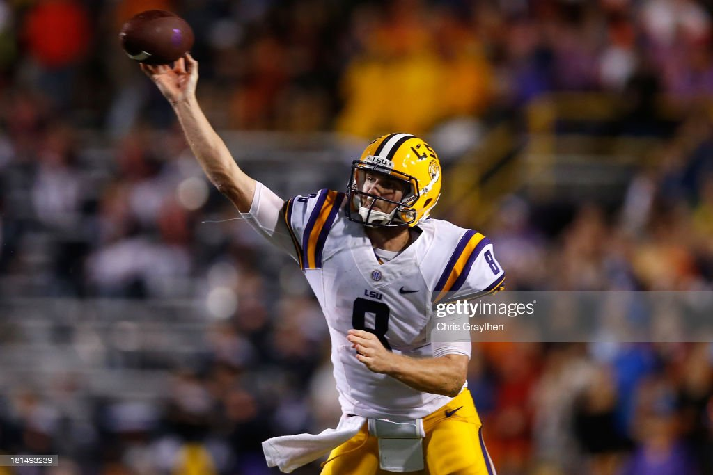 <a gi-track='captionPersonalityLinkClicked' href=/galleries/search?phrase=Zach+Mettenberger&family=editorial&specificpeople=6548476 ng-click='$event.stopPropagation()'>Zach Mettenberger</a> #8 of the LSU Tigers looks to throw a pass against the Auburn Tigers at Tiger Stadium on September 21, 2013 in Baton Rouge, Louisiana.