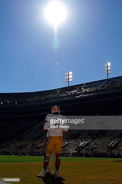Zach Mettenberger of the LSU Tigers watches his team during warm ups prior to a game against the Ole Miss Rebels at Tiger Stadium on November 17 2012...