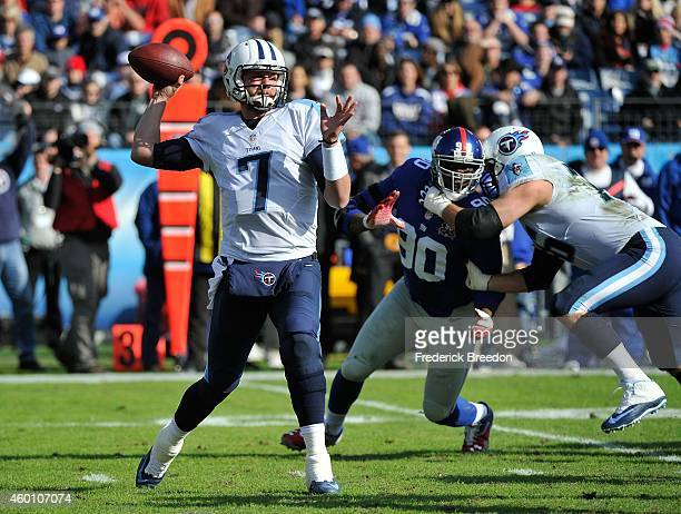 Zach Mettenberger of the Tennessee Titans drops back to throw a pass against the New York Giants during the first quarter in a game at LP Field on...
