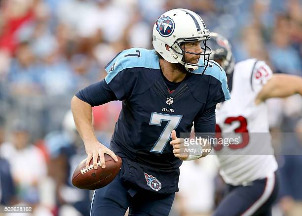Zach Mettenberger of the Tennessee Titans runs with the ball against the Houston Texans at LP Field on December 27 2015 in Nashville Tennessee