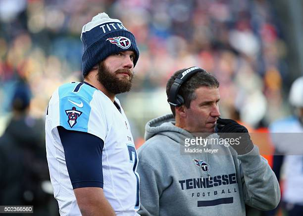 Zach Mettenberger of the Tennessee Titans stands on the sideline during the game against the New England Patriots at Gillette Stadium on December 20...