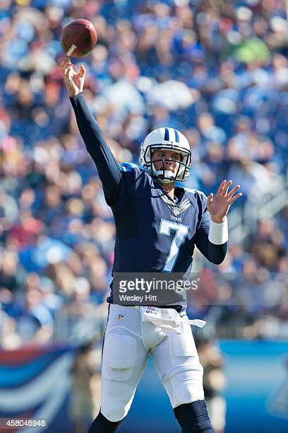 Zach Mettenberger of the Tennessee Titans throws a pass against the Houston Texans at LP Field on October 26 2014 in Nashville Tennessee The Texans...