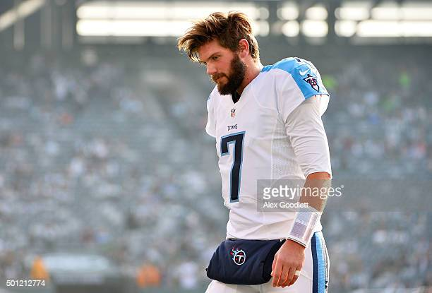 Zach Mettenberger of the Tennessee Titans warms up prior to their game against the New York Jets at MetLife Stadium on December 13 2015 in East...