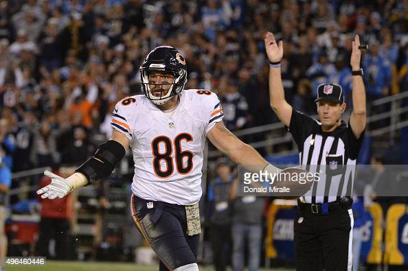 Zach Miller of the Chicago Bears celebrates a touchdown reception against the San Diego Chargers at Qualcomm Stadium on November 9 2015 in San Diego...