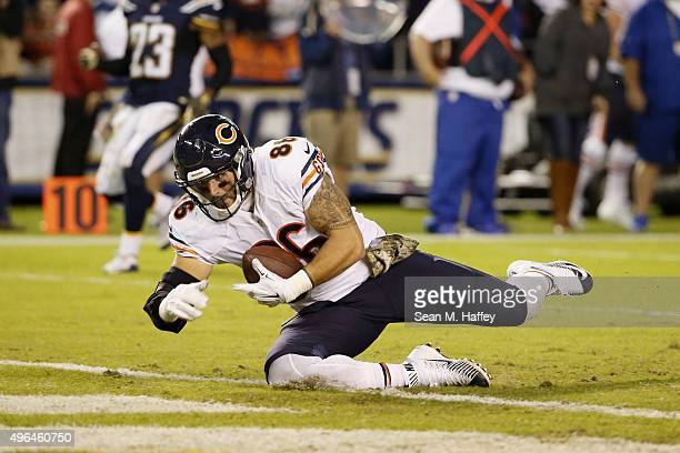 Zach Miller of the Chicago Bears makes a touchdown reception against the San Diego Chargers at Qualcomm Stadium on November 9 2015 in San Diego...