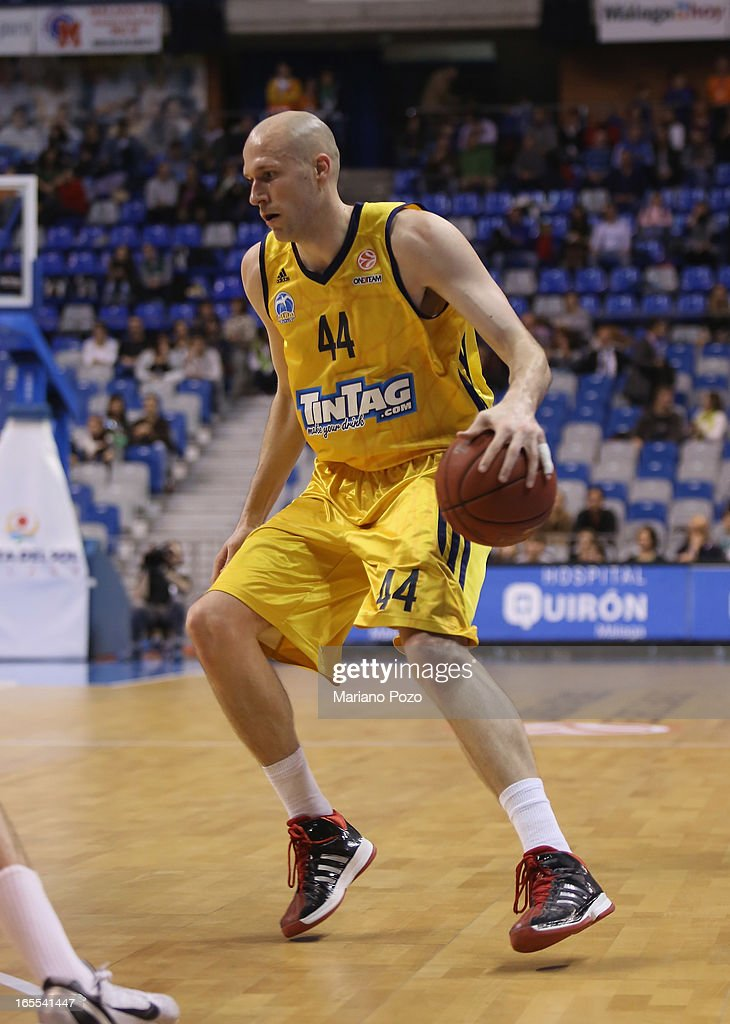 <a gi-track='captionPersonalityLinkClicked' href=/galleries/search?phrase=Zach+Morley&family=editorial&specificpeople=213554 ng-click='$event.stopPropagation()'>Zach Morley</a>, #44 of Alba Berlin in action during the 2012-2013 Turkish Airlines Euroleague Top 16 Date 14 between Unicaja Malaga v Alba Berlin at Palacio Deportes Martin Carpena on April 4, 2013 in Malaga, Spain.