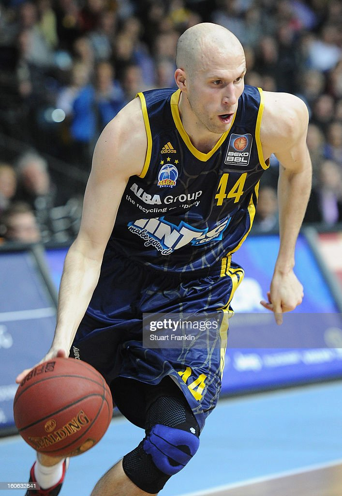 <a gi-track='captionPersonalityLinkClicked' href=/galleries/search?phrase=Zach+Morley&family=editorial&specificpeople=213554 ng-click='$event.stopPropagation()'>Zach Morley</a> of Berlin in action during the BBL game between EWE Baskets Oldenburg and Alba Berlin at the EWE arena on February 3, 2013 in Oldenburg in Holstein, Germany.