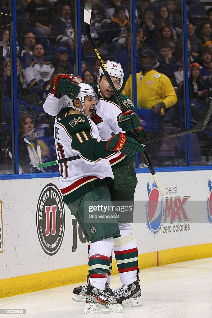 Zach Parise #11 and Dany Heatley #15 of the Minnesota Wild celebrate Parise's goal against the St. Louis Blues at the Scottrade Center on January 27, 2013 in St. Louis, Missouri.