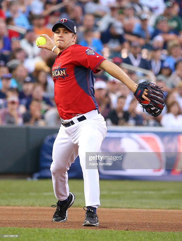 Zach Parise at the 2014 MLB All-Star legends and celebrity softball game on July 13, 2014 at the Target Field in Minneapolis, Minnesota.
