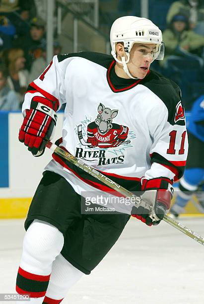 Zach Parise of the Albany River Rats skates against the Bridgeport Sound Tigers during the game on October 16 2004 at the Arena at Harbor Yard in...