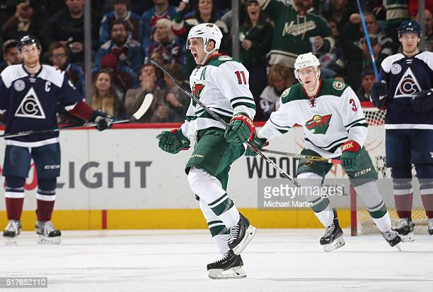 Zach Parise of the Minnesota Wild celebrates after a goal against the Colorado Avalanche at the Pepsi Center on March 26 2016 in Denver Colorado The...
