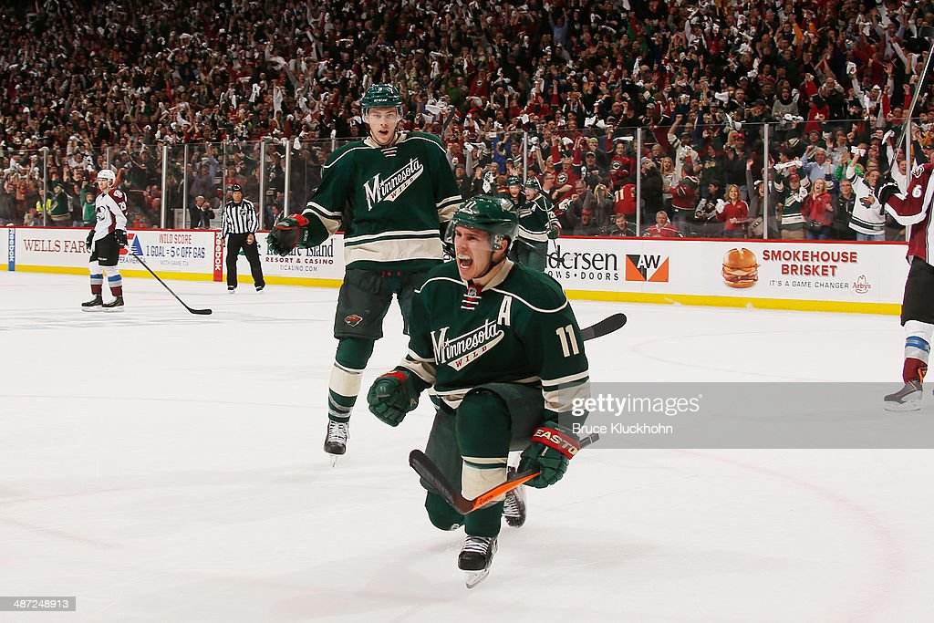 <a gi-track='captionPersonalityLinkClicked' href=/galleries/search?phrase=Zach+Parise&family=editorial&specificpeople=213606 ng-click='$event.stopPropagation()'>Zach Parise</a> #11 of the Minnesota Wild celebrates after scoring the game-winning goal during Game Six of the First Round of the 2014 Stanley Cup Playoffs on April 28, 2014 at the Xcel Energy Center in St. Paul, Minnesota.