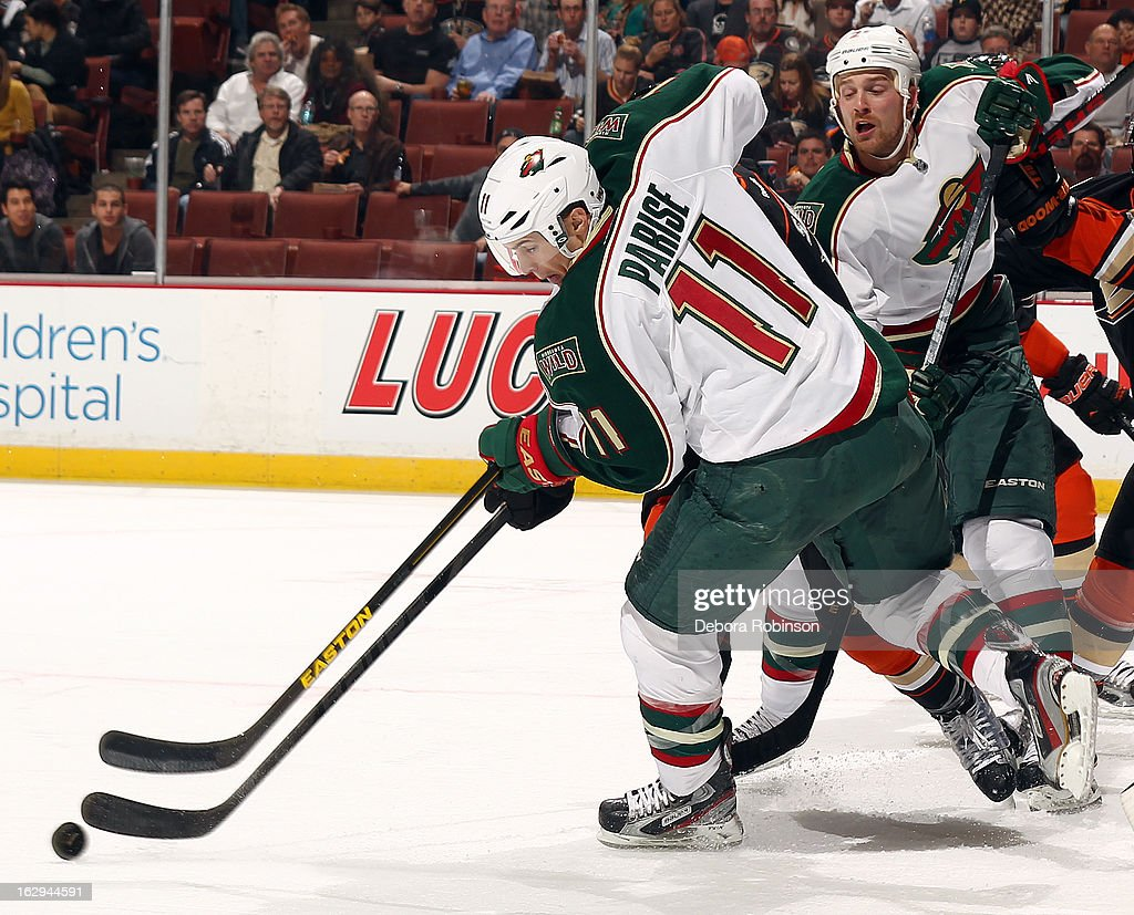 <a gi-track='captionPersonalityLinkClicked' href=/galleries/search?phrase=Zach+Parise&family=editorial&specificpeople=213606 ng-click='$event.stopPropagation()'>Zach Parise</a> #11 of the Minnesota Wild handles the puck during the game against the Anaheim Ducks on March 1, 2013 at Honda Center in Anaheim, California.
