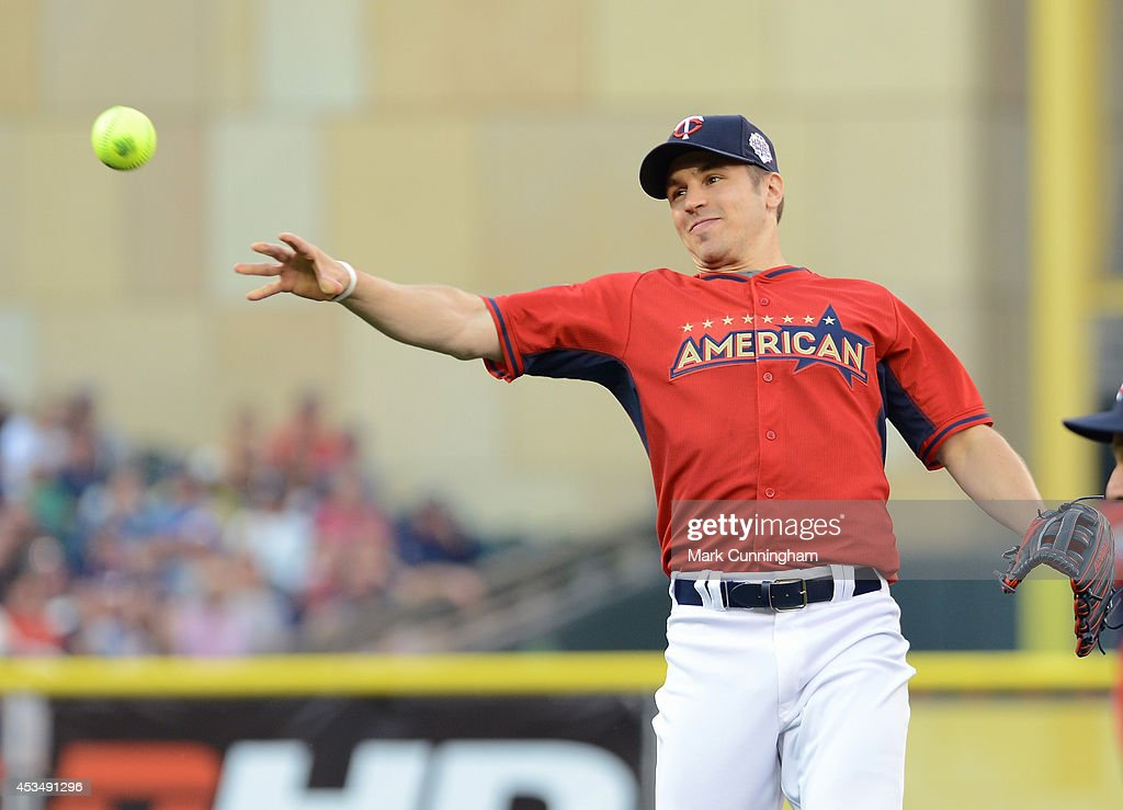 Zach Parise of the Minnesota Wild in action during the 2014 Taco Bell MLB All-Star Legends & Celebrity Softball Game at Target Field on July 13, 2014 in Minneapolis, Minnesota.