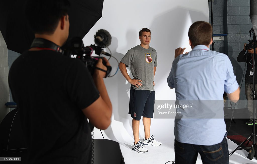 Zach Parise of the Minnesota Wild poses after being named a candidate for the 2014 USA Hockey Olympic Team at the Kettler Capitals Iceplex on August 26, 2013 in Arlington, Virginia.