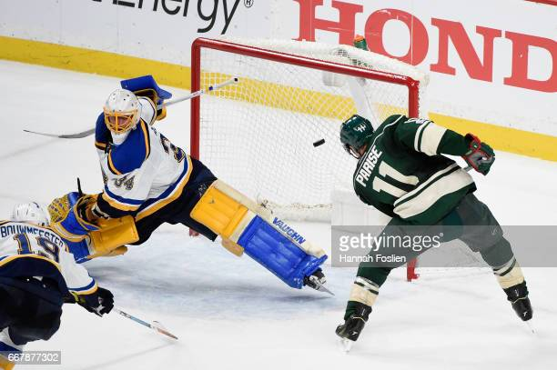 Zach Parise of the Minnesota Wild scores a goal against Jake Allen of the St Louis Blues during the third period in Game One of the Western...