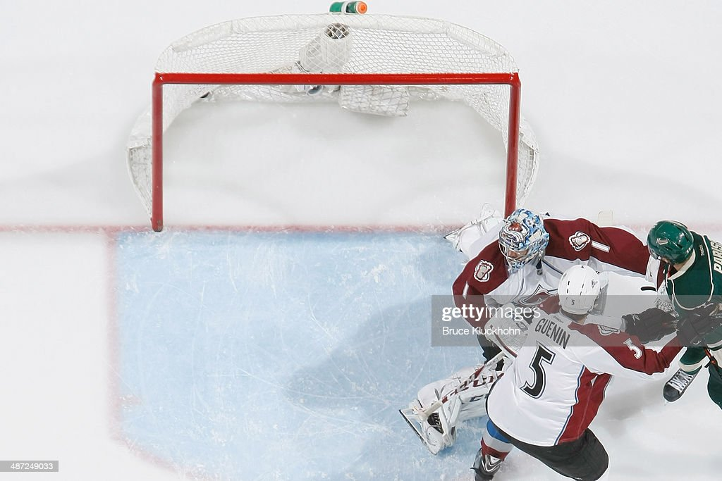 <a gi-track='captionPersonalityLinkClicked' href=/galleries/search?phrase=Zach+Parise&family=editorial&specificpeople=213606 ng-click='$event.stopPropagation()'>Zach Parise</a> #11 of the Minnesota Wild scores a goal against <a gi-track='captionPersonalityLinkClicked' href=/galleries/search?phrase=Semyon+Varlamov&family=editorial&specificpeople=6264893 ng-click='$event.stopPropagation()'>Semyon Varlamov</a> #1 of the Colorado Avalanche during Game Six of the First Round of the 2014 Stanley Cup Playoffs on April 28, 2014 at the Xcel Energy Center in St. Paul, Minnesota.