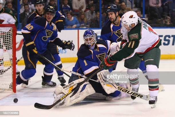 Zach Parise of the Minnesota Wild scores his second goal of the game against Brian Elliott of the St Louis Blues at the Scottrade Center on January...