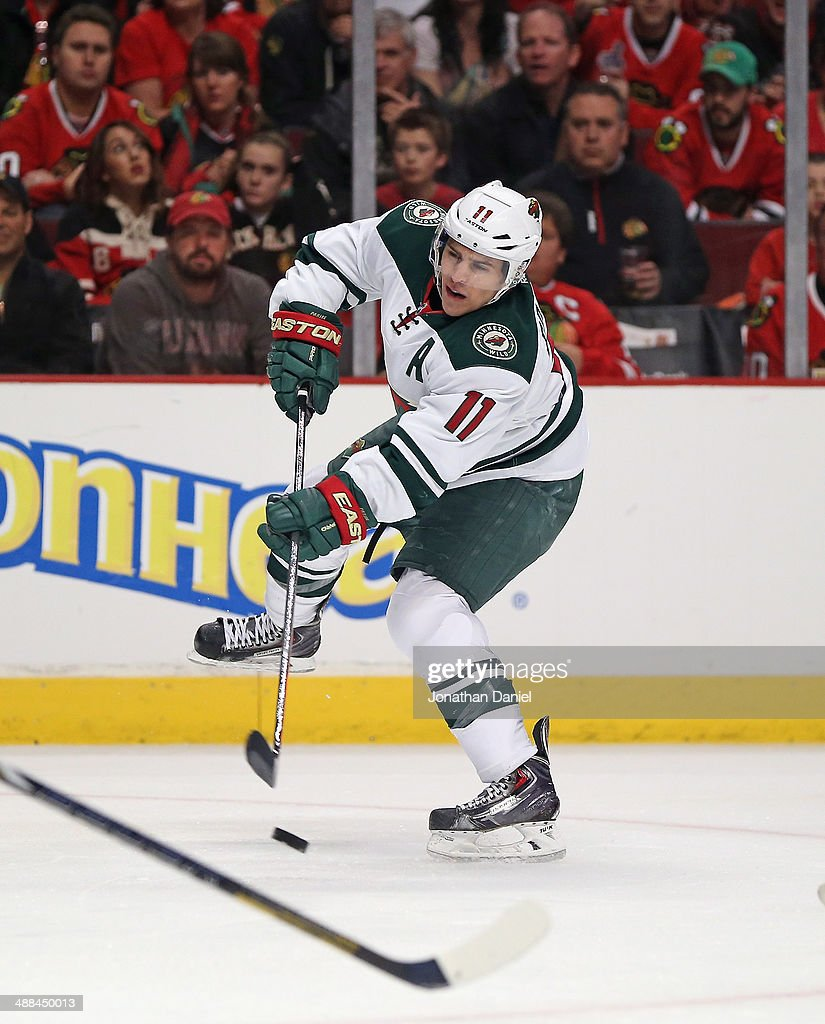 Zach Parise #11 of the Minnesota Wild shoots against the Chicago Blackhawks in Game One of the Second Round of the 2014 NHL Stanley Cup Playoffs at the United Center on May 2, 2014 in Chicago, Illinois. The Blackhawks defeated the Wild 5-2.