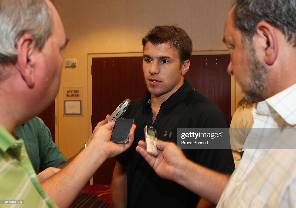 Zach Parise of the Minnesota Wild speaks with the media following the NHLPA press conference at Marriott Marquis Times Square on September 13, 2012 in New York City.