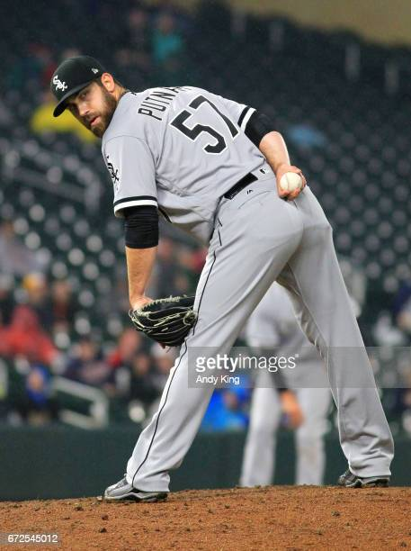 Zach Putnam of the Chicago White Sox against the Minnesota Twins during a game on April 14 2017 at Target Field in Minneapolis Minnesota Photo by...