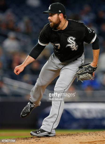 Zach Putnam of the Chicago White Sox in action against the New York Yankees during a game at Yankee Stadium on April 19 2017 in New York City