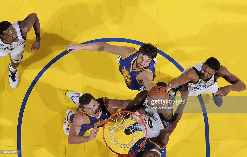 Zach Randlph #50 and <a gi-track='captionPersonalityLinkClicked' href=/galleries/search?phrase=Rudy+Gay&family=editorial&specificpeople=236066 ng-click='$event.stopPropagation()'>Rudy Gay</a> #22 of the Memphis Grizzlies fight for the ball against David Lee #10, Andrew Bogut #12, and <a gi-track='captionPersonalityLinkClicked' href=/galleries/search?phrase=Harrison+Barnes&family=editorial&specificpeople=6893973 ng-click='$event.stopPropagation()'>Harrison Barnes</a> #40 of the Golden State Warriors on November 2, 2012 at Oracle Arena in Oakland, California.