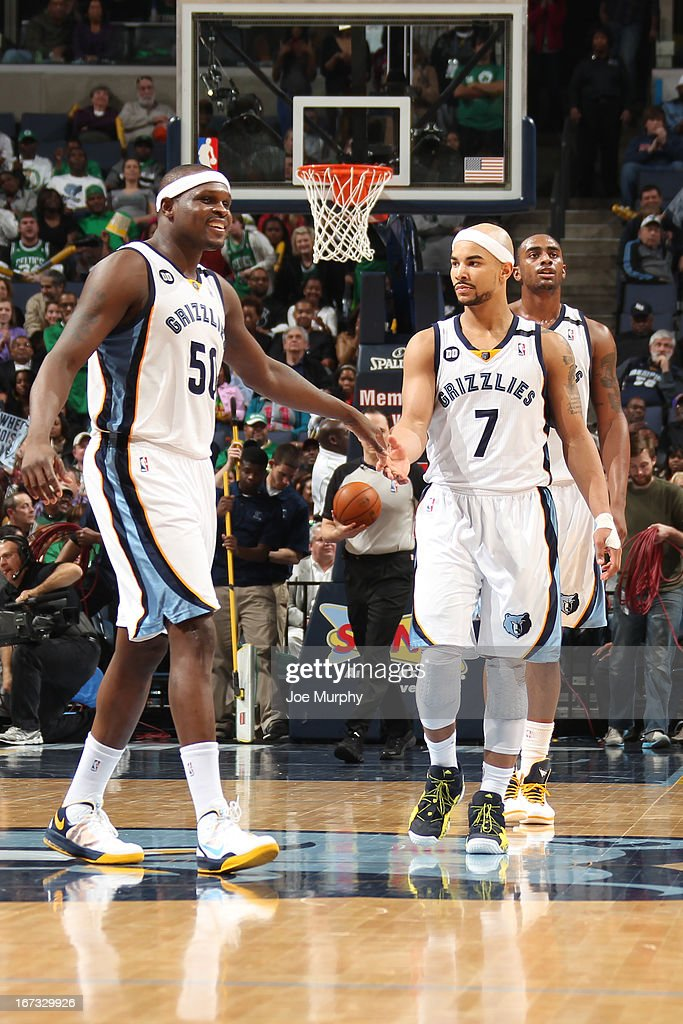 Zach Randolph #50 and Jerryd Bayless #7 of the Memphis Grizzlies celebrate a play against the Boston Celtics on March 23, 2013 at FedExForum in Memphis, Tennessee.