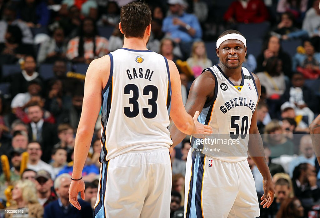 <a gi-track='captionPersonalityLinkClicked' href=/galleries/search?phrase=Zach+Randolph&family=editorial&specificpeople=201595 ng-click='$event.stopPropagation()'>Zach Randolph</a> #50 and <a gi-track='captionPersonalityLinkClicked' href=/galleries/search?phrase=Marc+Gasol&family=editorial&specificpeople=661205 ng-click='$event.stopPropagation()'>Marc Gasol</a> #33 of the Memphis Grizzlies celebrate during a game against the Orlando Magic on February 22, 2013 at FedExForum in Memphis, Tennessee.