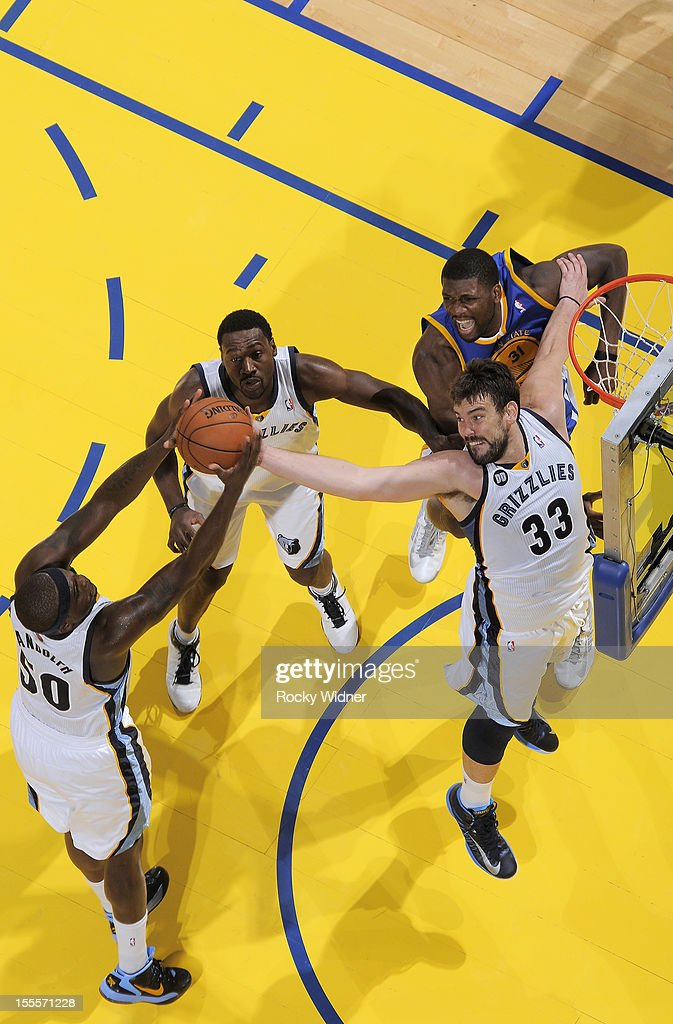 <a gi-track='captionPersonalityLinkClicked' href=/galleries/search?phrase=Zach+Randolph&family=editorial&specificpeople=201595 ng-click='$event.stopPropagation()'>Zach Randolph</a> #50 and Marc Gasol #33 of the Memphis Grizzlies rebound the ball against the Golden State Warriors on November 2, 2012 at Oracle Arena in Oakland, California.
