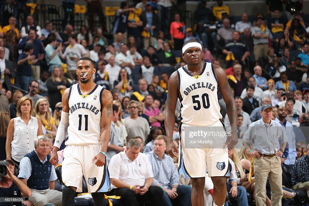 <a gi-track='captionPersonalityLinkClicked' href=/galleries/search?phrase=Zach+Randolph&family=editorial&specificpeople=201595 ng-click='$event.stopPropagation()'>Zach Randolph</a> #50 and Mike Conley #11 of the Memphis Grizzlies on the court against the Oklahoma City Thunder in Game Six of the Western Conference Quarterfinals during the 2014 NBA Playoffs on May 3, 2014 at FedExForum in Memphis, Tennessee.
