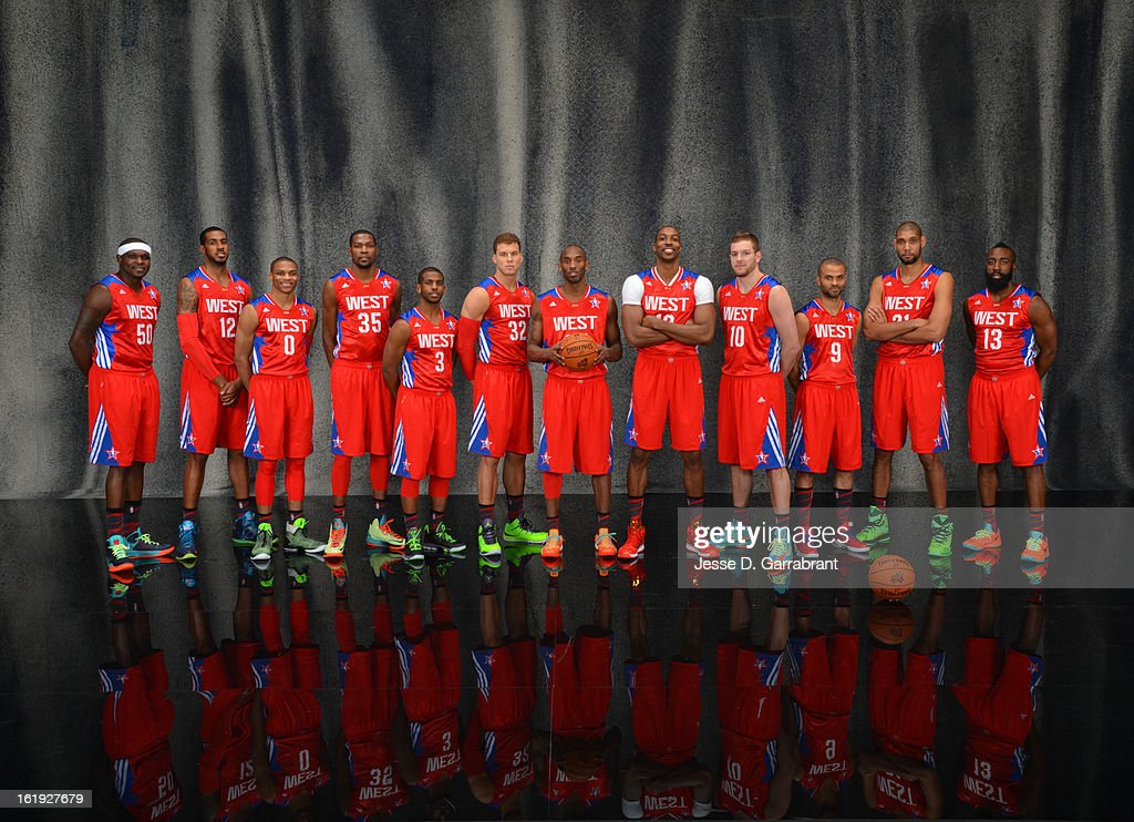 Zach Randolph #50 , LaMarcus Aldridge #12, Russell Westbrook #0, Kevin Durant #35,Chris Paul #3,Blake Griffin #32,Kobe Bryant #24,Dwight Howard #12,David Lee #10,Tony Parker #9,Tim Duncan #21 and James Harden #13of the poses for portraits prior to the 2013 NBA All-Star Game at Toyota Center on February 17, 2013 in Houston, Texas.