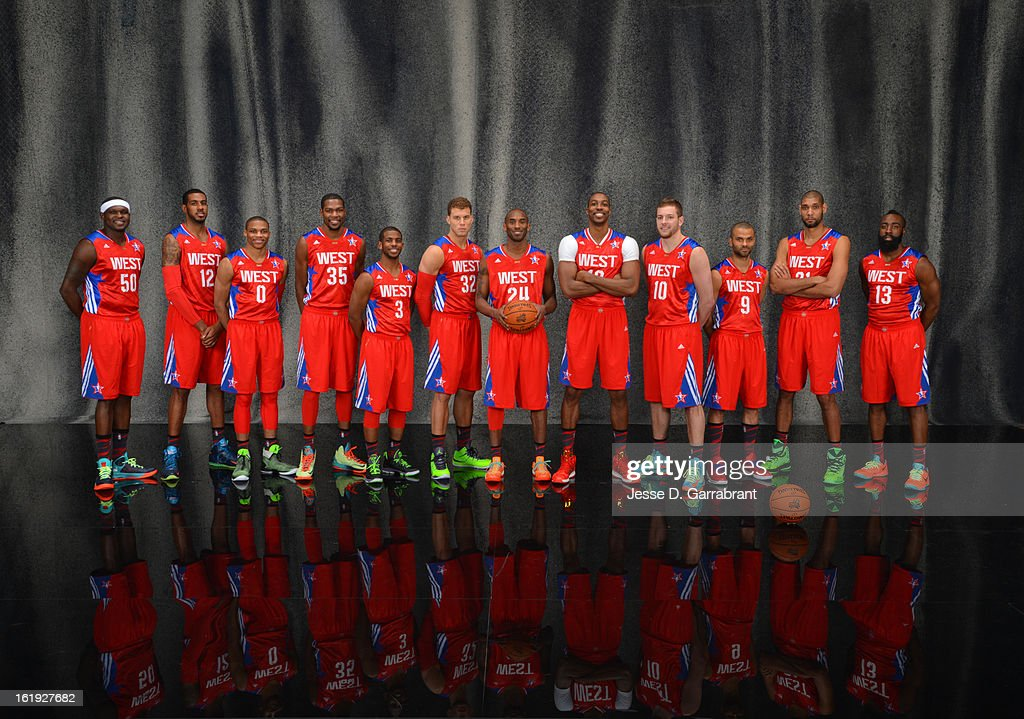Zach Randolph #50 , LaMarcus Aldridge #12, Russell Westbrook #0, Kevin Durant #35,Chris Paul #3,Blake Griffin #32,Kobe Bryant #24,Dwight Howard #12,David Lee #10,Tony Parker #9,Tim Duncan #21 and James Harden #13 of the poses for portraits prior to the 2013 NBA All-Star Game at Toyota Center on February 17, 2013 in Houston, Texas.