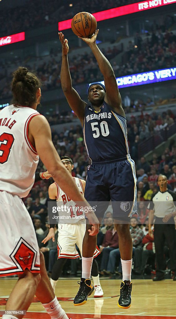 Zach Randolph #50 of the Memphis Grizzles puts up a shot against Joakim Noah #13 of the Chicago Bulls at the United Center on January 19, 2013 in Chicago, Illinois. The Grizzlies defeated the Bulls 85-82 in overtime.