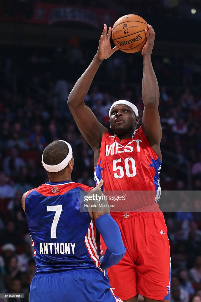 Zach Randolph #50 of the Memphis Grizzlies and the Western Conference shoots over Carmelo Anthony #7 of the New York Knicks and the Eastern Conference in the first half during the 2013 NBA All-Star game at the Toyota Center on February 17, 2013 in Houston, Texas.