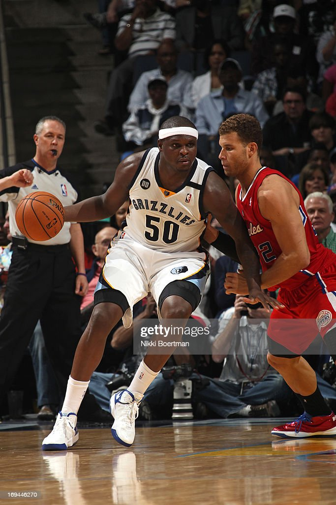 <a gi-track='captionPersonalityLinkClicked' href=/galleries/search?phrase=Zach+Randolph&family=editorial&specificpeople=201595 ng-click='$event.stopPropagation()'>Zach Randolph</a> #50 of the Memphis Grizzlies backs up to the basket against the Los Angeles Clippers on April 13, 2013 at FedExForum in Memphis, Tennessee.