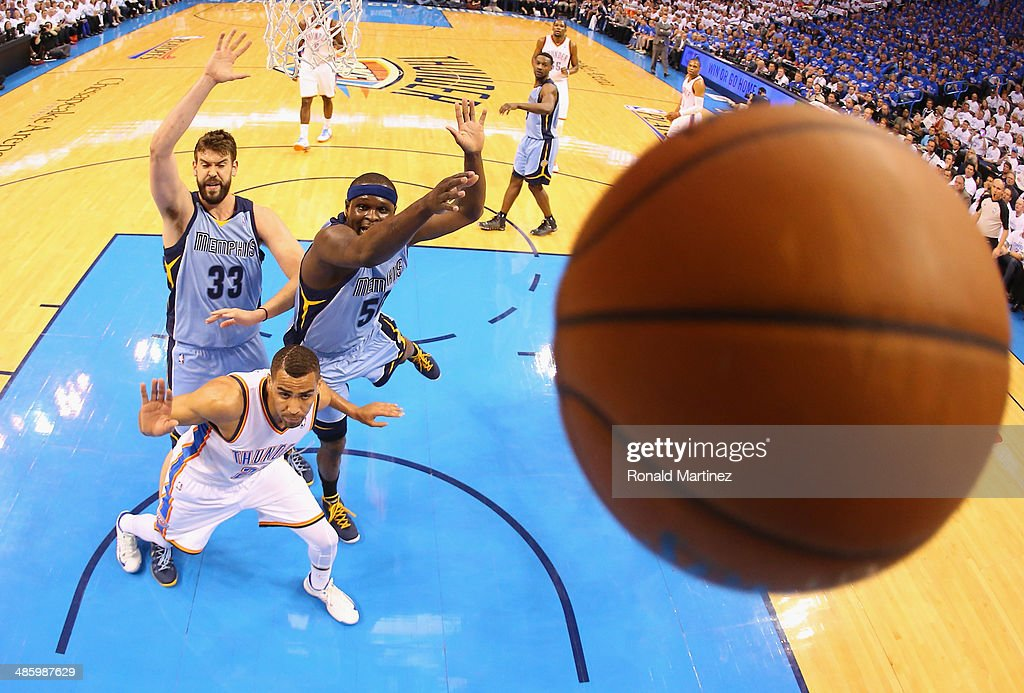 <a gi-track='captionPersonalityLinkClicked' href=/galleries/search?phrase=Zach+Randolph&family=editorial&specificpeople=201595 ng-click='$event.stopPropagation()'>Zach Randolph</a> #50 of the Memphis Grizzlies blocks the shot by <a gi-track='captionPersonalityLinkClicked' href=/galleries/search?phrase=Thabo+Sefolosha&family=editorial&specificpeople=587449 ng-click='$event.stopPropagation()'>Thabo Sefolosha</a> #25 of the Oklahoma City Thunder in Game Two of the Western Conference Quarterfinals during the 2014 NBA Playoffs at Chesapeake Energy Arena on April 21, 2014 in Oklahoma City, Oklahoma.