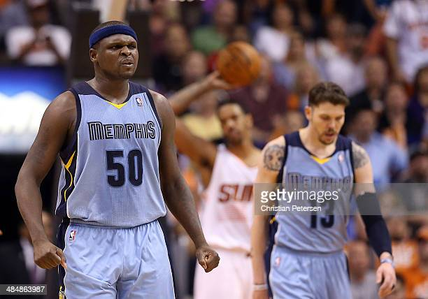 Zach Randolph of the Memphis Grizzlies celebrates after scoring against the Phoenix Suns during the second half of the NBA game against the Phoenix...