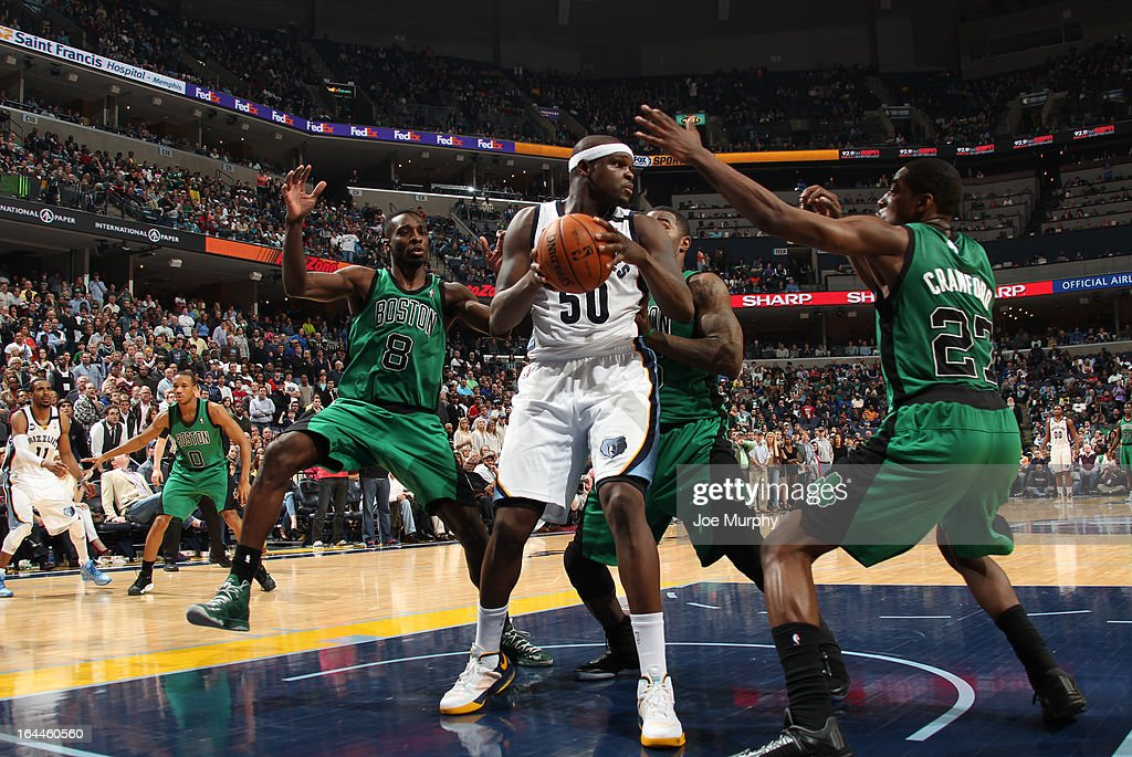 Zach Randolph #50 of the Memphis Grizzlies controls the ball against Jeff Green #8 and Jordan Crawford #27 of the Boston Celtics on March 23, 2013 at FedExForum in Memphis, Tennessee.